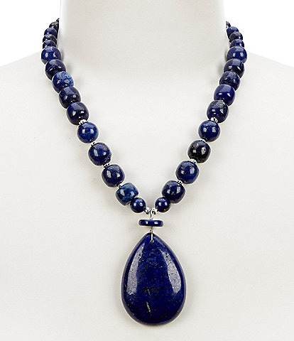 Barse Sterlling Silver and Lapis Pendant Necklace