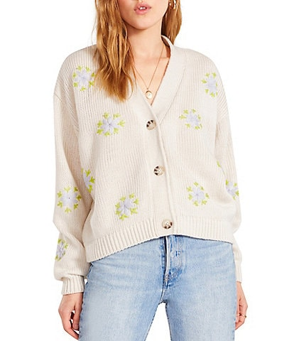 BB Dakota by Steve Madden Old School Floral Top Stitching Long Sleeve Button-Front Cardigan