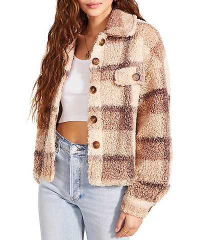 BB Dakota by Steve Madden Plaid To See You Button Front Long Sleeve Faux Sherpa Cozy Jacket