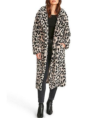 BB Dakota by Steve Madden Purr Patrol Leopard Print Faux Shearling Fur Long Duster Coat