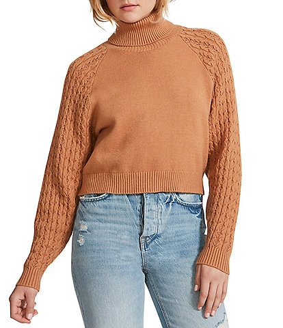 BB Dakota by Steve Madden Put A Wing On It Fold-Over Turtleneck Cable Stitching Long Sleeve Sweater