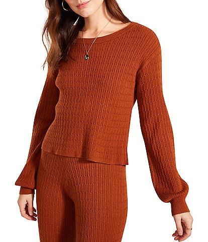 BB Dakota by Steve Madden Cable Vision Round Neck Long Sleeve Cropped Sweatshirt