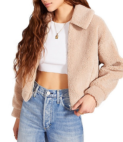 BB Dakota by Steve Madden Teddy to Go Collared Long Sleeve Faux Shearling Cozy Jacket