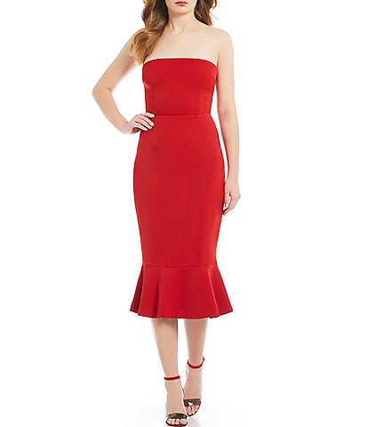 BB Dakota Light My Fire Crepe Strapless Midi Dress