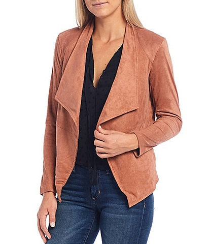 BB Dakota x Steve Madden Wade Open Front Long Sleeve Faux Suede Jacket