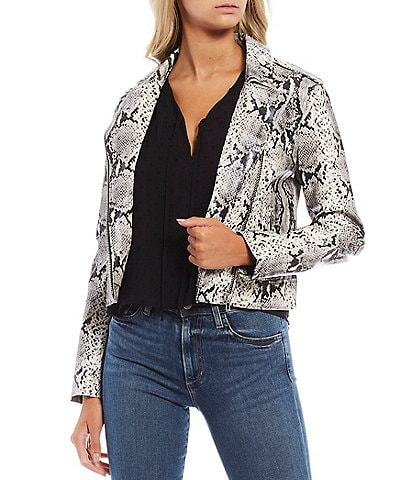 BB Dakota x Steve Madden Watch Out Faux Leather Snake Print Moto Jacket