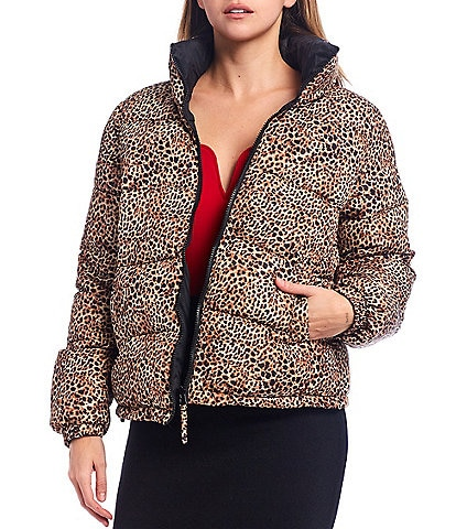 BB Dakota x Steve Madden Cool Kitten Reversible Leopard Print Quilted Puffer Jacket