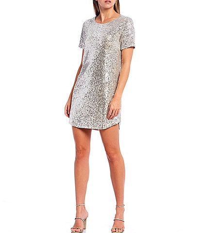 BB Dakota x Steve Madden Hit The Lights Sequin Short Sleeve Mini Dress