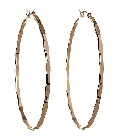 BCBG Textured Large Hoop Earrings