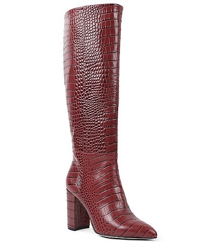 BCBGeneration Baylee Croc Embossed Leather Tall Block Heel Boots