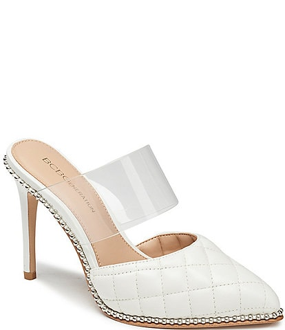 BCBGeneration Harlina Quilt Stitch Leather Clear Strap Mules