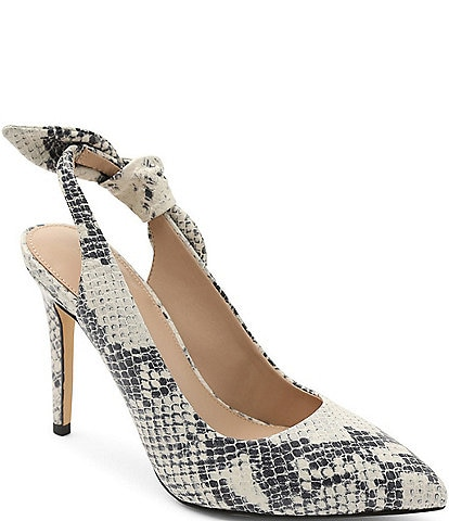 BCBGeneration Henaya Bow Slingback Snake Print Leather Pumps