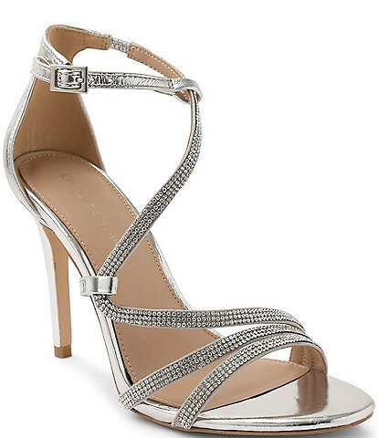 BCBGeneration Jalila 2 Asymmetrical Leather Bling Strap Dress Sandals