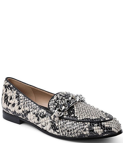 BCBGeneration Zelina Studded Snake Print Leather Loafers