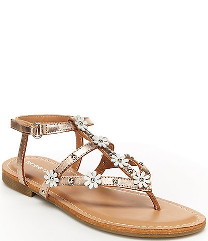 BCBGirls Girls' Cote Tote Metallic Floral Detail Thong Sandals Youth