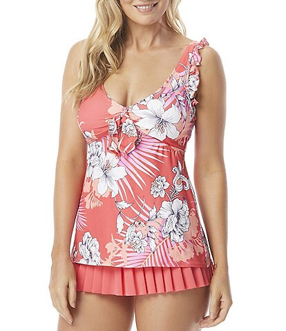 Beach House Ella Ruffle Pearl Edge Underwire Tankini Swimsuit Top & Pleated Skirted Swim Bottom