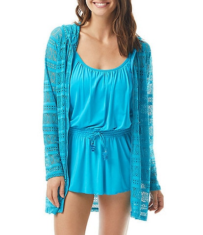 Beach House Indra Lace Long Sleeve Hooded Cover Up
