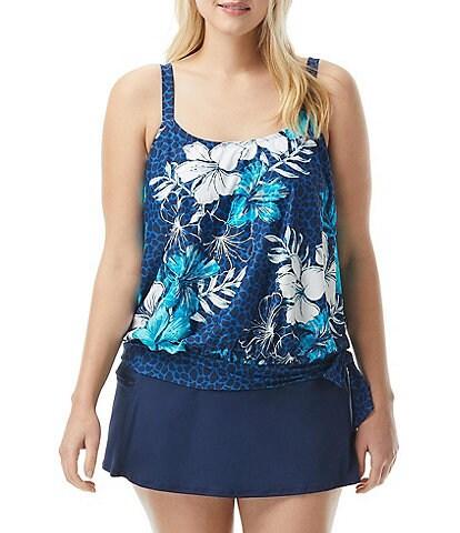 Beach House Plus Size Hawaiian Hideaway Sarah Side Tie Blouson Swim Top & Solids Emma Swim Skort