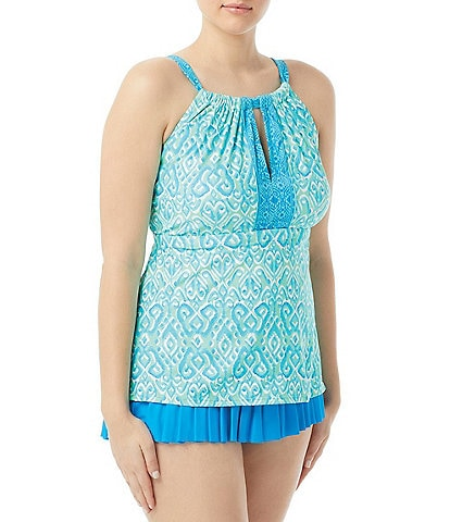 Beach House Plus Sun Seeker Blair High Neck Tankini Top & Solid Sophie Pleated Swim Skirt