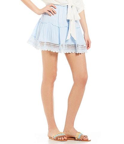 Beachgold Lace-Trimmed Crochet Tie Pepper Skirt