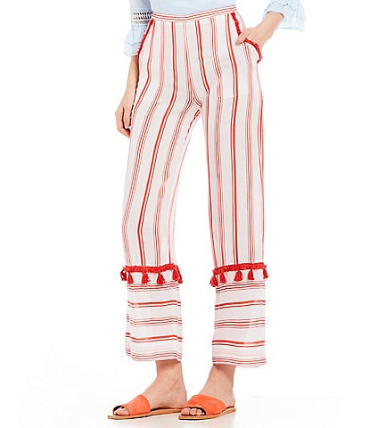 Beachgold Seven Seas Rosie Striped Tassel Trim Wide-Leg Pant