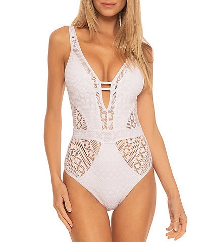 Becca by Rebecca Virtue Color Play Plunge Crochet Sheer Inset One Piece Swimsuit