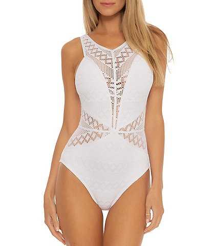 Becca by Rebecca Virtue Color Play Savannah High Neck Crochet One Piece Swimsuit