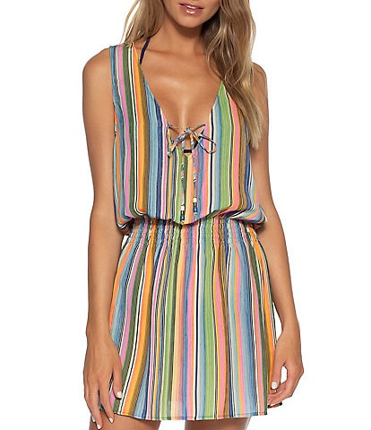 Becca by Rebecca Virtue East Village Milla Stripe Sleeveless Deep V-Neck Cover Up Tunic