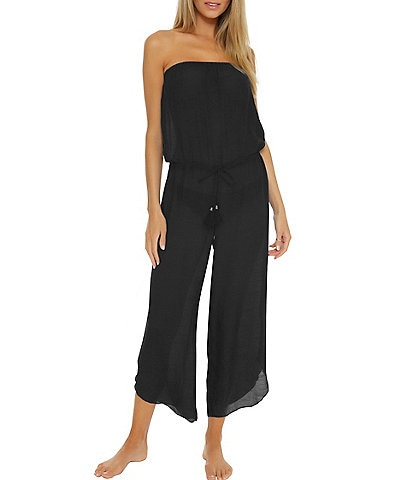 Becca by Rebecca Virtue Wayfarer Cropped Swim Cover Up Jumpsuit