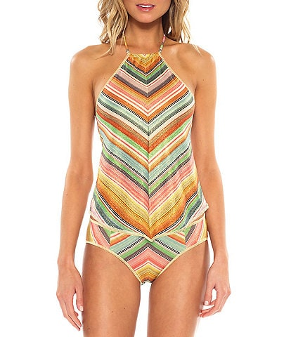 9efc4a84586 Becca by Rebecca Virtue West Village Hanky Hem Tankini Top   Stripped Tab  Side Hipster Bottom. color swatch