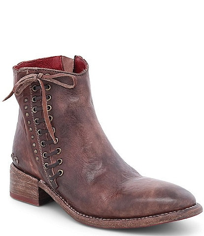 Bed Stu Aldina Leather Side Lace Up Block Heel Booties