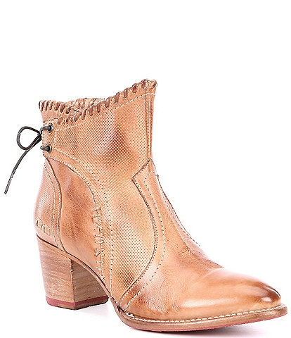 Bed Stu Bia Dip Dye Leather Western Stacked Block Booties