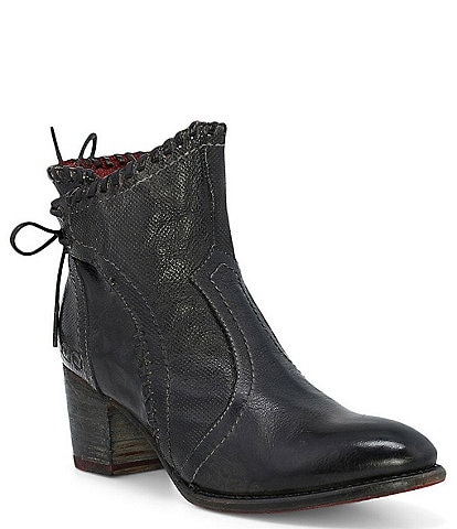 Bed Stu Bia Leather Block Heel Western Booties