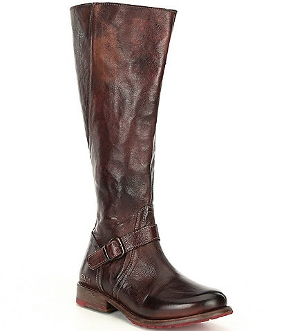 Bed Stu Glaye Buckle Detail Wide Calf Tall Leather Block Heel Boots