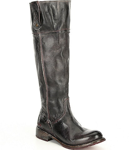 Bed Stu Jacqueline Wide Calf Tall Leather Block Heel Boots