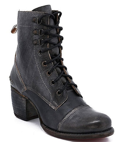 Bed Stu Judgement Leather Block Heel Combat Boots