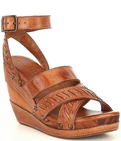 Bed Stu Kaphie Leather Handwoven Detail Wedge Sandals