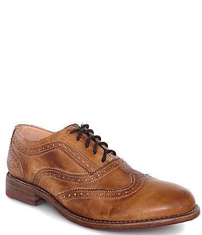 Bed Stu Lita Leather Wingtip Block Heel Oxfords