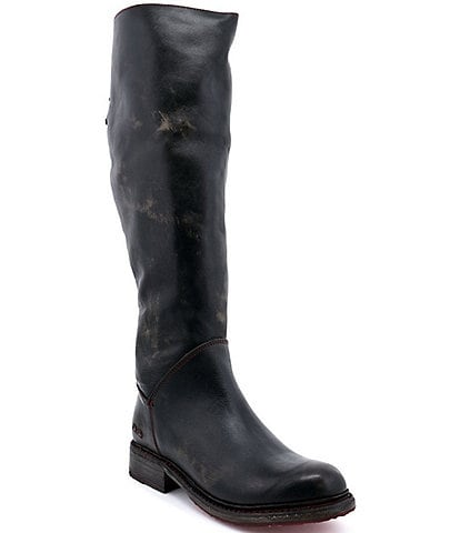 Bed Stu Manchester Tall Leather Wide Calf Block Heel Riding Boots