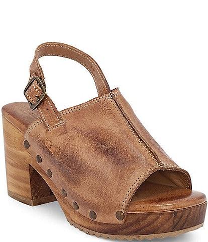 Bed Stu Marie Leather Block Heel Sling Back Platform Sandals