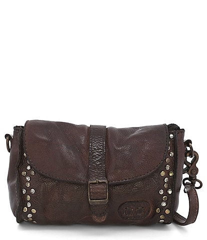 Bed Stu Meg Leather Studded Foldover Buckle Convertible Crossbody Belt Bag