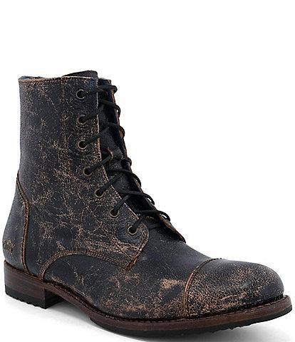 Bed Stu Men's Protege Distressed Leather Cap Toe Combat Boots