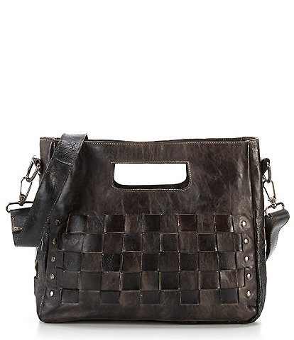 Bed Stu Orchid Studded Woven Satchel Bag