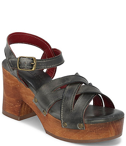 Bed Stu Paulina Leather Block Heel Platform Sandals