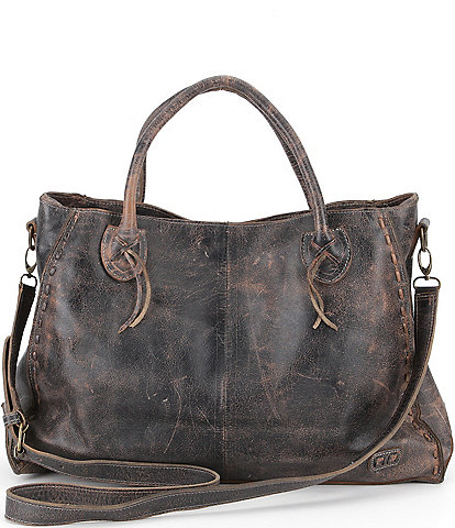 Bed Stu Rockaway Stitch-Detail Distressed Satchel Bag