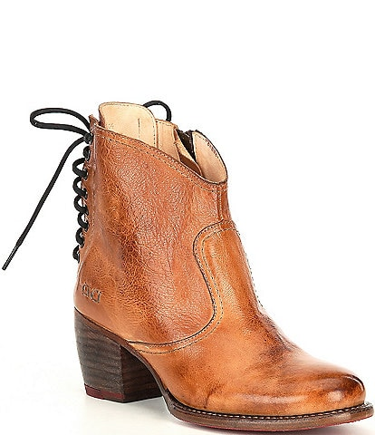 Bed Stu Xena Leather Back Lacing Block Heel Western Booties