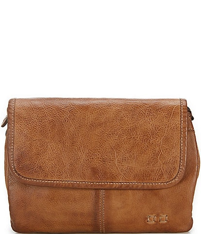 Bed Stu Ziggy Flap Closure Tanned Leather Crossbody Bag