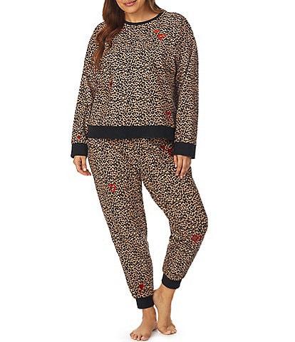 BedHead Pajamas Plus Size Animal Print French Terry Round Neck Long Sleeve Lounge Set