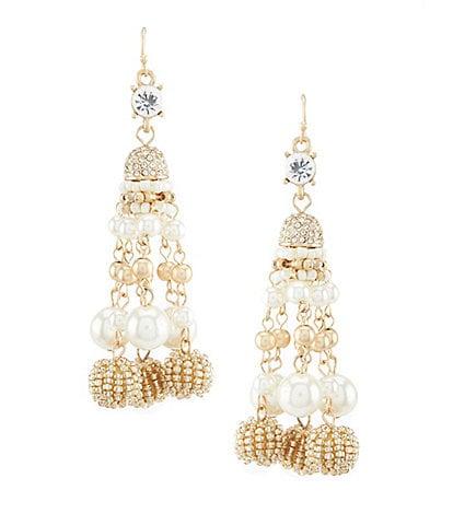 Belle Badgley Mischka Cluster Pearl Bead Drop Statement Earrings