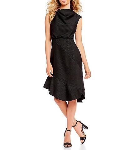 Belle Badgley Mischka Cowl Neck Pinstripe Blouson Midi Dress